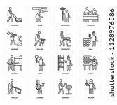 set of 16 icons such as welder  ... | Shutterstock .eps vector #1128976586