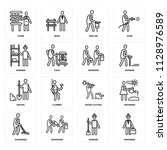 set of 16 icons such as... | Shutterstock .eps vector #1128976589