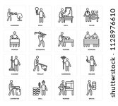 set of 16 icons such as bricks  ...