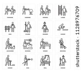 set of 16 icons such as worker  ... | Shutterstock .eps vector #1128976709