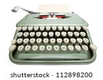 Wide angle shot of typewriter with sheet of paper. Isolated on white background with clipping path - stock photo