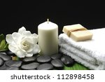 gardenia and stones with soap... | Shutterstock . vector #112898458