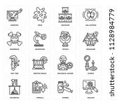 set of 16 icons such as... | Shutterstock .eps vector #1128984779
