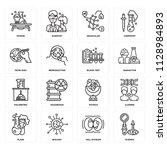set of 16 icons such as science ... | Shutterstock .eps vector #1128984893