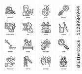 set of 16 icons such as gas...