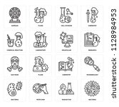 set of 16 icons such as... | Shutterstock .eps vector #1128984953