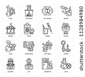 set of 16 icons such as flask ... | Shutterstock .eps vector #1128984980