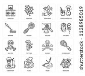 set of 16 icons such as... | Shutterstock .eps vector #1128985019