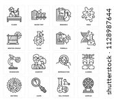 set of 16 icons such as samples ... | Shutterstock .eps vector #1128987644