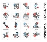 set of 16 icons such as car...   Shutterstock .eps vector #1128987770
