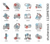 set of 16 icons such as wheel ...   Shutterstock .eps vector #1128987830