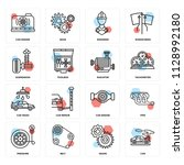 set of 16 icons such as car ...   Shutterstock .eps vector #1128992180