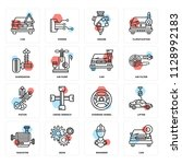 set of 16 icons such as car ...   Shutterstock .eps vector #1128992183