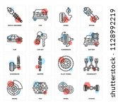 set of 16 icons such as chassis ...   Shutterstock .eps vector #1128992219