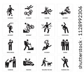 set of 16 icons such as running ...