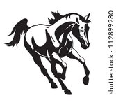 running horse  black and white...