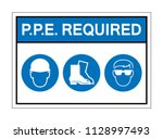 ppe. required sign symbol... | Shutterstock .eps vector #1128997493