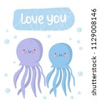 vector set of cute poster with... | Shutterstock .eps vector #1129008146