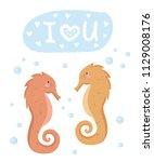 vector set of cute poster with... | Shutterstock .eps vector #1129008176