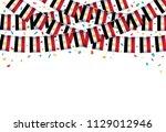 egypt flags garland white... | Shutterstock .eps vector #1129012946