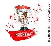 17 august. indonesia... | Shutterstock .eps vector #1129029398