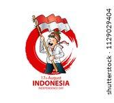 17 august. indonesia... | Shutterstock .eps vector #1129029404