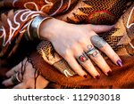 hands with rings of tribal... | Shutterstock . vector #112903018