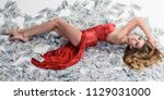 sensitive blonde sexy woman in... | Shutterstock . vector #1129031000