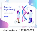 isometric digital dna structure ... | Shutterstock .eps vector #1129033679