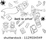 sets of art with a school theme ... | Shutterstock . vector #1129034549