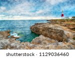 watercolour painting of... | Shutterstock . vector #1129036460