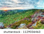 watercolour painting of sunset... | Shutterstock . vector #1129036463