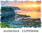 watercolour painting of sunset... | Shutterstock . vector #1129036466