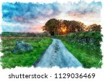 watercolour painting of a... | Shutterstock . vector #1129036469