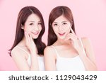 two beauty skincare women with...   Shutterstock . vector #1129043429