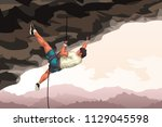 detailed climber in cave | Shutterstock .eps vector #1129045598