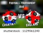 soccer game croatia vs england. ... | Shutterstock .eps vector #1129061240