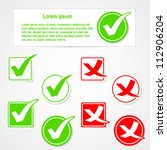 vector check mark stickers and... | Shutterstock .eps vector #112906204