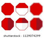 isolated blank stop sign set... | Shutterstock .eps vector #1129074299