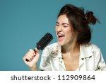 cheerful attractive teen girl... | Shutterstock . vector #112909864