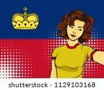 asian woman taking selfie photo ... | Shutterstock . vector #1129103168