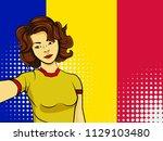 asian woman taking selfie photo ... | Shutterstock . vector #1129103480