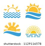 vector sunset or sunrise icons. ... | Shutterstock .eps vector #1129116578
