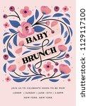 baby shower brunch invitation.... | Shutterstock .eps vector #1129117100