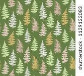 fern frond herbs  tropical... | Shutterstock .eps vector #1129122083