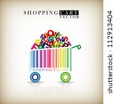 abstract vector shopping cart... | Shutterstock .eps vector #112913404