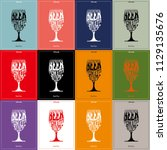 cocktail  glass silhouette red... | Shutterstock .eps vector #1129135676