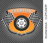 wheel and checkered flags on... | Shutterstock .eps vector #112913659