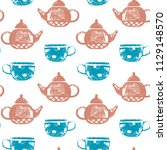 seamless pattern with hand... | Shutterstock .eps vector #1129148570