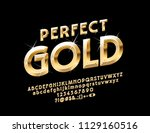 vector perfect gold alphabet... | Shutterstock .eps vector #1129160516